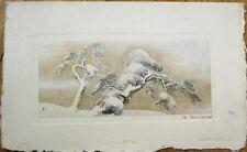 Japanese Tree Print w/Gold by Okyo, Japan - 1930s Menu Blank