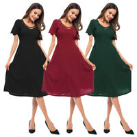 Fashion Women Lady Short Sleeve Mini Lace Dress Evening Party Pleated Prom Gown