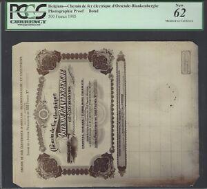 Belgium -  Chemin de Ferelecrique d'Ostende 500 Francs 1905  Photographic Proof