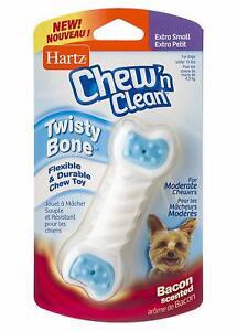 Hartz Chew 'n Clean Bacon Flavored Dog Twisty Bone Chew Toy, Extra Small