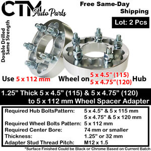 """2x 1.25"""" THICK 5x4.5(115) & 5x4.75(120) TO 5x112 WHEEL ADAPTER FIT DODGE& MORE"""
