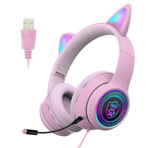LED Gaming Wired Cat Ear PC Headphones Headset Microphone Pink Adult or Kids USB