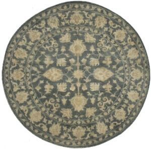 Dark Slate Floral Oriental Round Rug 6X6 Transitional Hand-Knotted Decor Carpet