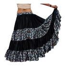 Satin 12 Yard 4 Tiered Digital Printed Skirt Belly Dance Tribal Ruffle Flamenco