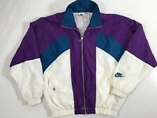 Vtg 90's NIKE Men Purple STREETWEAR Nylon COLORBLOCK Warm Up Coat TRACK Jacket S
