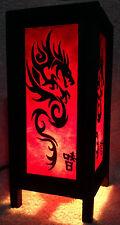 Vintage Handmade ASIAN Oriental Art Red Black China Dragon Bedside Table Lamp
