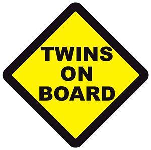 TWINS ON BOARD WARNING SAFETY BUMPER STICKER Sign Car Windows