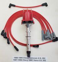 CHEVY GMC 4.3L 262 V6 1986-96 EFI TPI TBI DISTRIBUTOR + PLUG WIRES VANS ASTROVAN