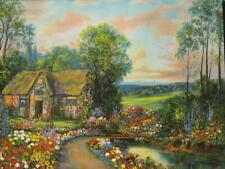 W M Thompson Small Art Print Beautiful Thatched Roof Cottage Flower Garden 1940s