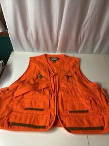 Cabelas  Rapidloader Hunting Vest Blaze Orange Khaki Green Game Pouch Men XL EUC