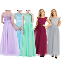 Women Lace Long Formal Wedding Evening Ball Gown Party Prom Bridesmaid Dress AU