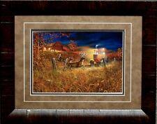 "Field of Dreams II by Jim Hansel Farm Deer Tractor Framed Art Print 21"" x 17"""