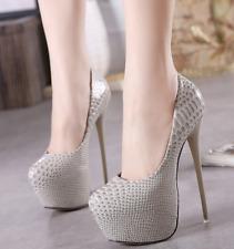 Women Platform High Stiletto Heel Sexy Heels Party Nightclub Snake Pumps Gray