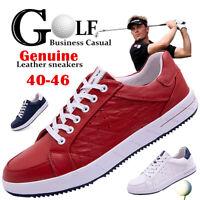FLYLAND Men's Golf Shoes Genuine Leather Waterproof Business Casual Golf Sneaker