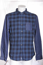 New Men's Blue Check Casual Long Sleeve Shirt Denim Sleeves Size M by New Look