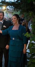 Women Formal Evening Dress Blue Free Jacket Mother of the Bride/Groom Sz 12