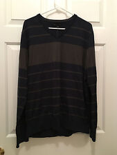 NWT J. Crew Men's V-Neck Pullover Olive Green Navy Blue Lightweight Sweater XL