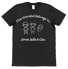 Personalised This Grandad Belongs To T-Shirt With Kids Dog Cat Names Father Gift