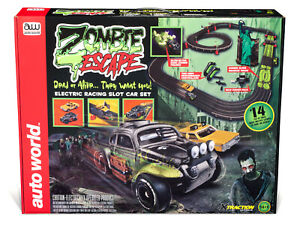 "AUTO WORLD SRS323 14' ""ZOMBIE ESCAPE"" 2 SLOT CAR RACE SET  1/EA  HO SCALE"