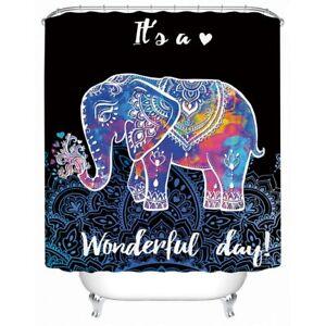 Mandala Cartoon Elephant Animal Modern Bathroom Waterproof Bath Shower Curtain