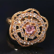 Vintage Pink Sapphire Moissanite Engagement Ring Women Wedding Jewelry Size 6.5