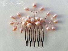 Blush pink Rose gold hair comb slide. Freshwater pearls bride bridesmaid wedding