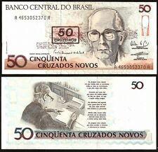 BRAZIL 50 Cruzeiros on 50 Cruzados Novos 1990 UNC P 223