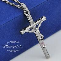 18K 18CT White GOLD GP Religious JESUS CRUCIFIX Silver CROSS NECKLACE L016 NEW