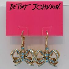 Betsey Johnson Beautiful Imperial Princess Blue Crystal Bow Leverback Earrings