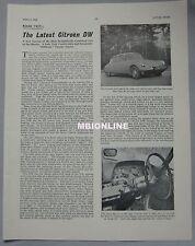 1964 Citroen DW Original Motor Sport magazine Road test