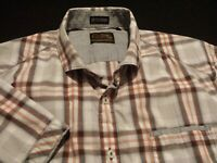 7 Diamonds Mens Large Short Sleeve Button-Front Multicolor Plaid Check Shirt