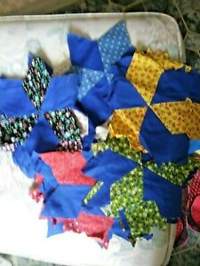 37 Hand Quilted Star Pieces Red/Blue Multi Color
