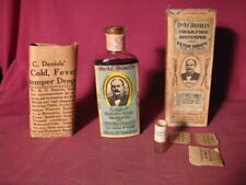 Antique Dr Daniels Cough Cold Distemper Fever Drops Bottle w Label, Box, Flyer