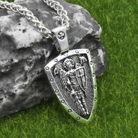 """Archangel Saint St Michael Medal Cross Shield Pendant Necklace w 24"""" Spiga Chain"""