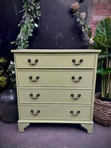 GREEN CHEST OF Four DRAWERS PAINTED EDWARDIAN MAHOGANY SOLID WOOD