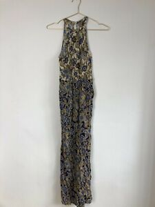 Anthropologie Yellow And Blue Print Halter Neck Jumpsuit Size 10