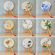 Chinese Style Round Hand Held Folding Silk Fan For Wedding Event Party Gifts Hs
