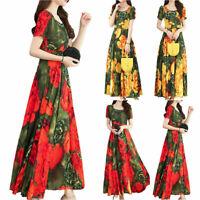 Ladies Travel Floral Long Dress Short Sleeves Casual/Formal Summer Holiday Dress