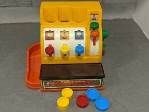 Fisher-Price Vintage 1974 Toy Cash Register w/ 5 Coins - Works Great!