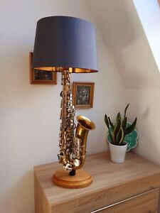 Upcycled Gold & Silver Saxophone table lamp with hardwood base, made to order