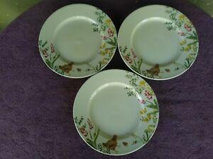 "PAULA DEEN Garden Rooster Dinner Plates White Flowers 10.75""  Set of 3"
