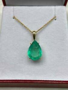 4Ct Pear Cut Green Emerald Solitaire Woman Pendant Necklace 14k Yellow Gold Over