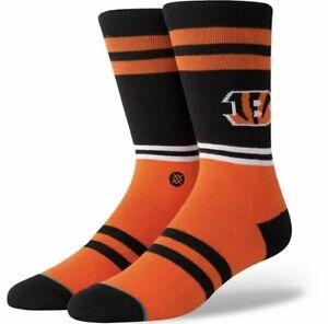 Stance NFL Cincinnati Bengals Logo Orange & Black Crew Socks Men's Large NWT