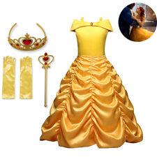 Girls Belle Fancy Dress Up Beauty and the Beast Kids Child Halloween Costume UK