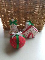 Adorable Set of 3 Vintage Christmas Tree Ornaments Ball House Fabric Styrofoam