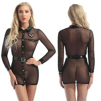 Sexy-women Bodycon Mesh See-through Mini Dress Long Sleeve Blouse Belt Nightclub