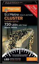 720 LED Multi Action Warm White Cluster Christmas Lights with Timer - PREMIER