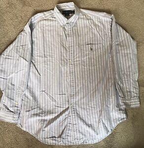 Ralph Lauren Purple and White striped Big Shirt Large