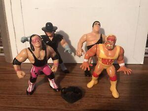 Hasbro WWF Figures Lot of 4 Hogan Hart Andre Undertaker With BELT