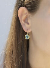 Round Blue Topaz Earrings Handmade 14k Yellow Gold December Birthstone Gift